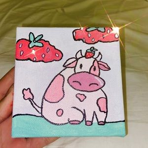 strawberry cow painting 4x4 art